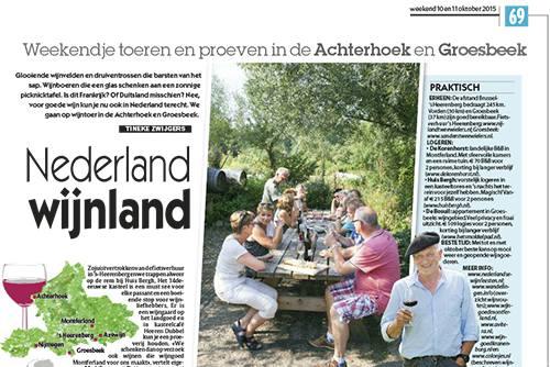 Artikel over Nederlandse wijn in Het Laatste Nieuws