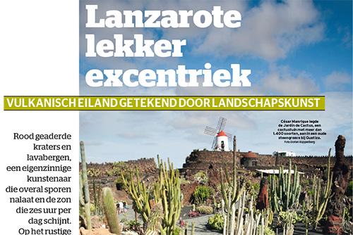 Artikel over Lanzarote in Het Laatste Nieuws